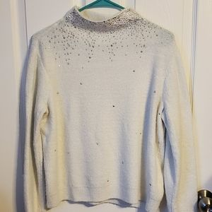 Juicy Couture Winter Wht Sparkly Sweater Sz M